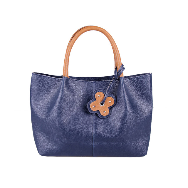 New Arrival Simple Style Tote Bags For Women Hard Leather Handbags Deep Blue Pu Bag