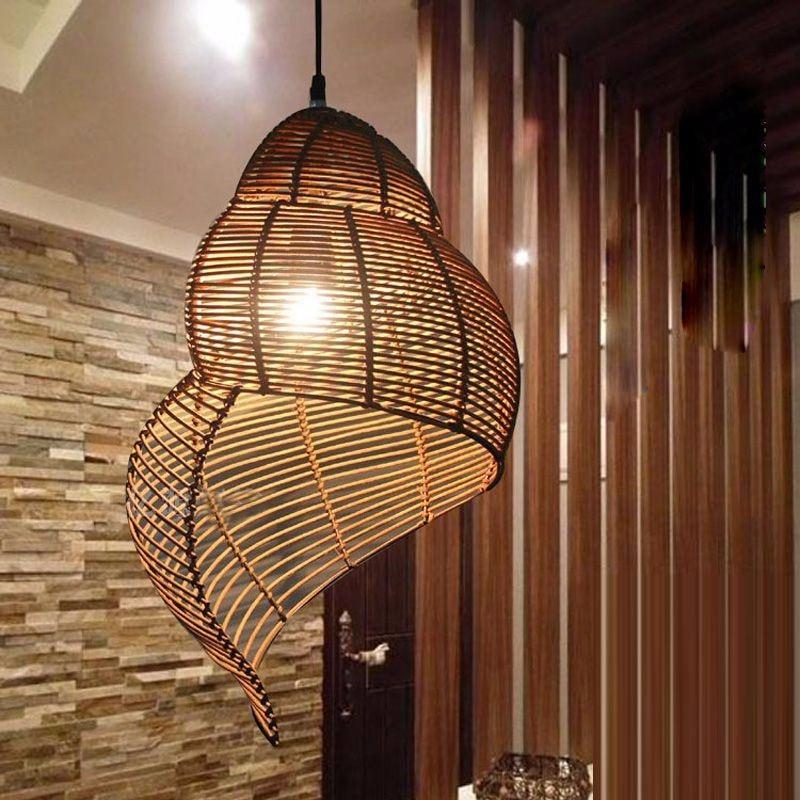 Southeast Asian Pastoral style Rattan art Droplighthand knitted ConchSnail Pendant Light