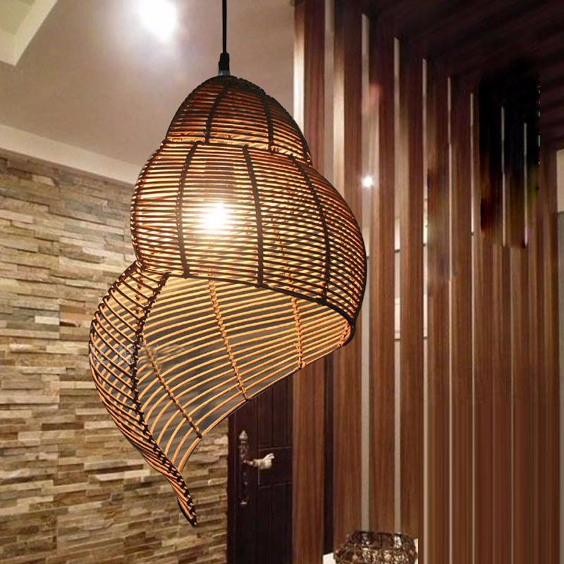 Southeast Asian Pastoral Style Rattan Art Droplighthand Knitted Conch Snail Pendant Light Restaurant