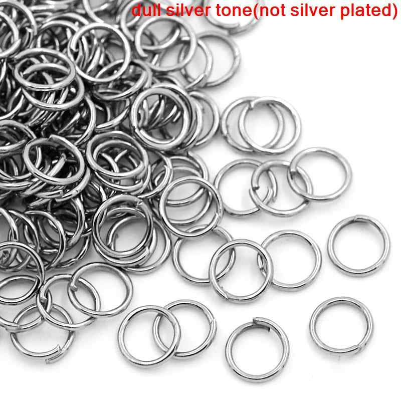 Doreen Box Lovely 1000PCs dull silver tone Open Jump Ring 6mm dia. (B00171)
