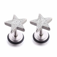 For Man Fashion Stud Earring Bling Star Ear Studs Sliver Stainless Steel Jewelry for Girls Women 1 Pair