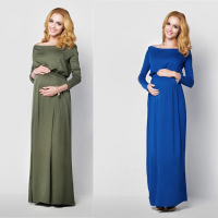 Pregnancy Evening Dress Maternity Party Dress Clothes for Photo Shoots Woman Dresses for Photo Shoot Long Sleeve Cotton Dresses