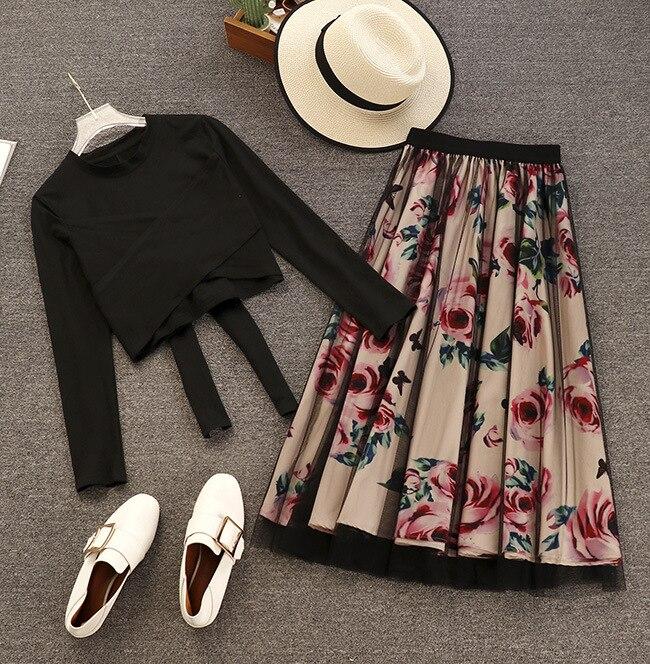 Корейский женский комплект из двух предметов с цветочным принтом, 2019, футболка на шнуровке с бантом, топ и винтажная сетчатая открытая юбка, комплект, Женский комплект из 2 предметов