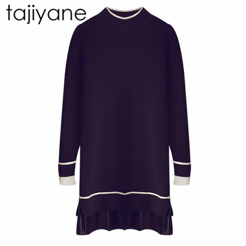 TAJIYANE 2018 Spring Winter Long Sweater Dress Women Half Turtleneck Sweaters Pullover Women Famale Black Sweater New Hot LD187