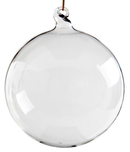 Free Shipping Home Gardens Wedding Home Decoration Christmas Glass Ornament Clear Round Bauble Ball Decoration 100