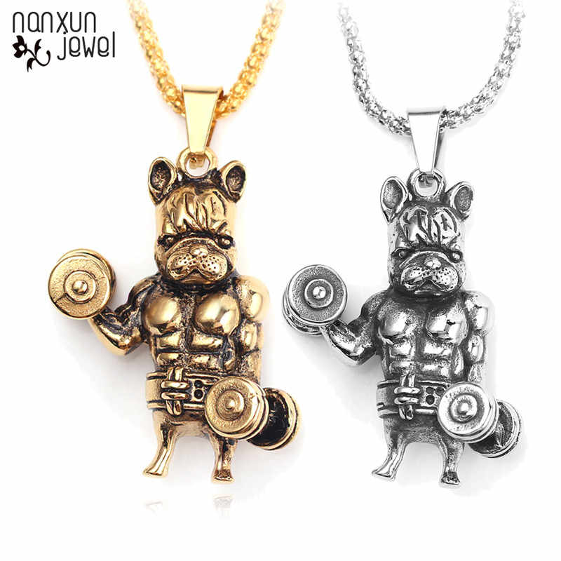 Nowy Punk buldog podnoszenie ciężarów wisiorek naszyjnik dla mężczyzn antyczne srebro długi złoty łańcuch naszyjniki mięśni urok mężczyzn biżuteria prezenty