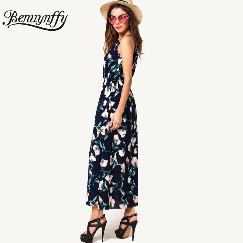 0ee448ce3b Benuynffy Floral Print Halter Beach Dress High Waist Sleeveless A Line Maxi  Dress 2018 Summer Women Casual Boho Long Dress Q973