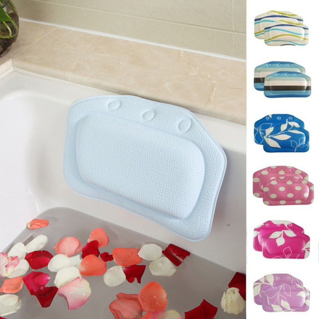 US Buy New Bathroom Supplies Bathtub Pillow Headrest Waterproof PVC Bath Pillows With Suction Cups Head Neck Rest Pillow Party