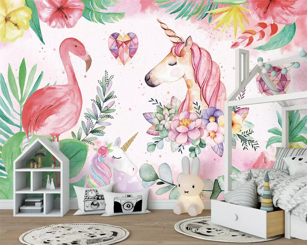 Beibehang Mural Wallpaper Nordic Simple Flamingo Unicorn
