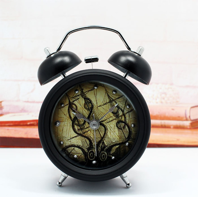 Vintage nautical octopus Times creative 3D stereo metal bell small alarm  clock lazy bedroom watch free. Vintage nautical octopus Times creative 3D stereo metal bell small