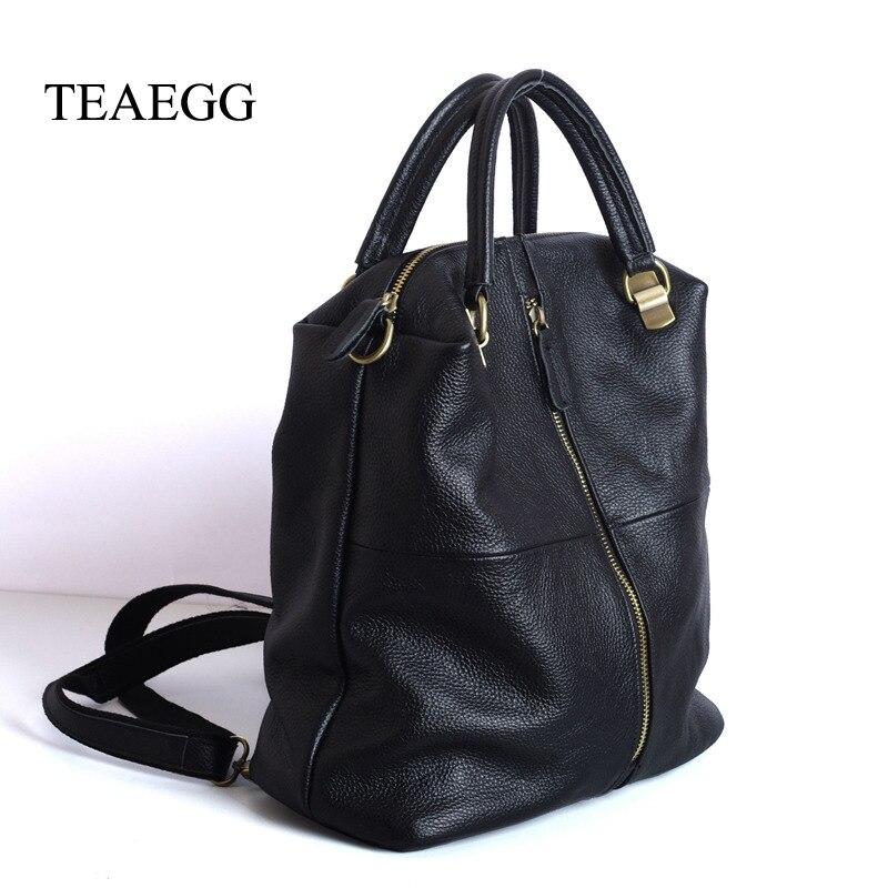 Teaegg 여성 암소 가죽 배낭 여성 진짜 정품 가죽 다목적 어깨 가방 레이디 배낭-에서백팩부터 수화물 & 가방 의  그룹 1