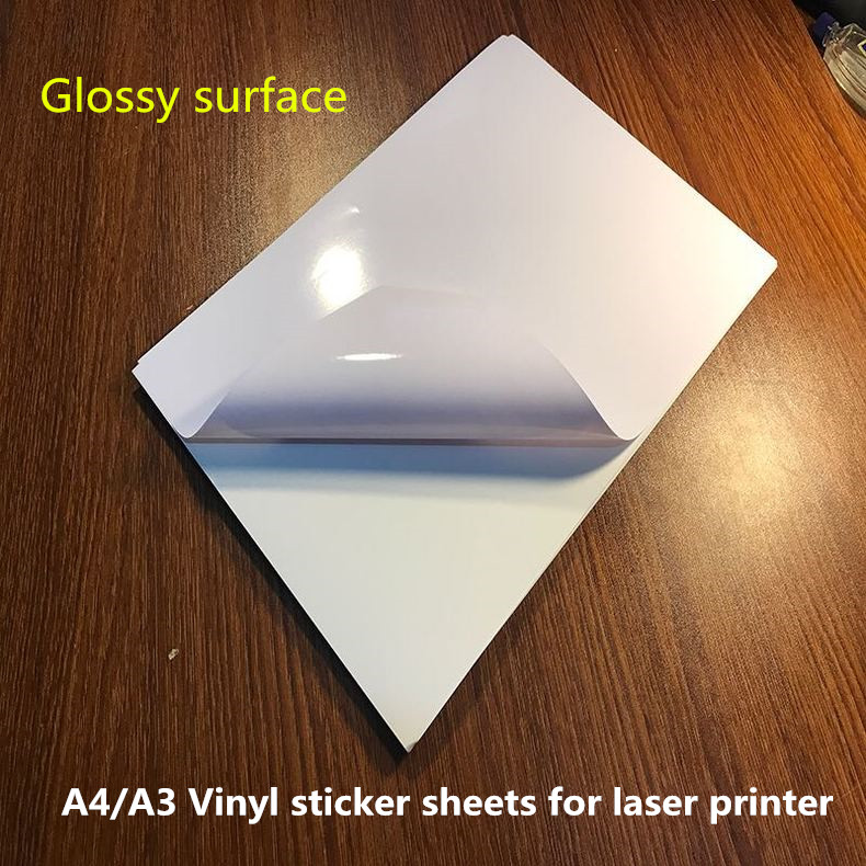 Self Adhesive A4 Size Bright Glossy Vinyl Sticker In Sheets For Laser Printer