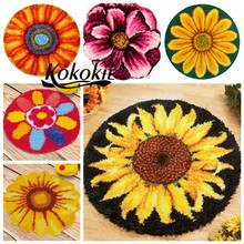 latch hook rug kits carpet tapestry kits sun flower printed canvas accessories 3d carpet needle for carpet Foamiran for crafts(China)