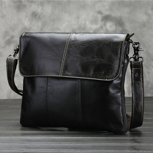 Genuine Leather Fashion Men Shoulder Bags Men's Leather Crossbody Bags For Women Messenger Bags Casual Black Clutch Bag 2016