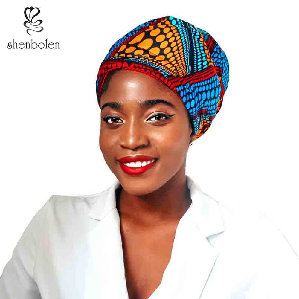 Pañuelo de cabeza Kente africano Shenbolen hecho a mano para mujer bufanda turbante cera algodón 72*22