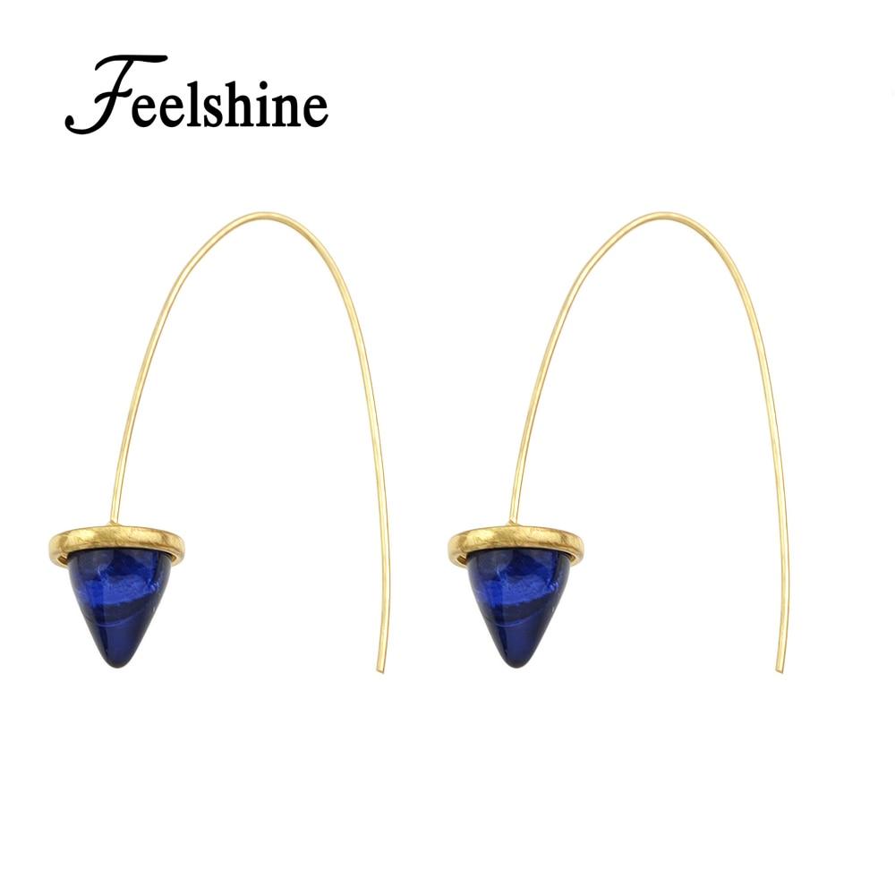Newing Cute Boho Earrings Goldcolor Circle Pink Blue Resin Triangle  Hoop Earrings For