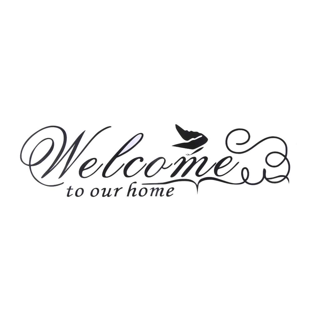 US $1 84 5% OFF|Text quotations wall sticker Welcome To Our Home Wall  Decals Quotes Butterfly Decoration Wall Sticker Pared Decoration-in Wall