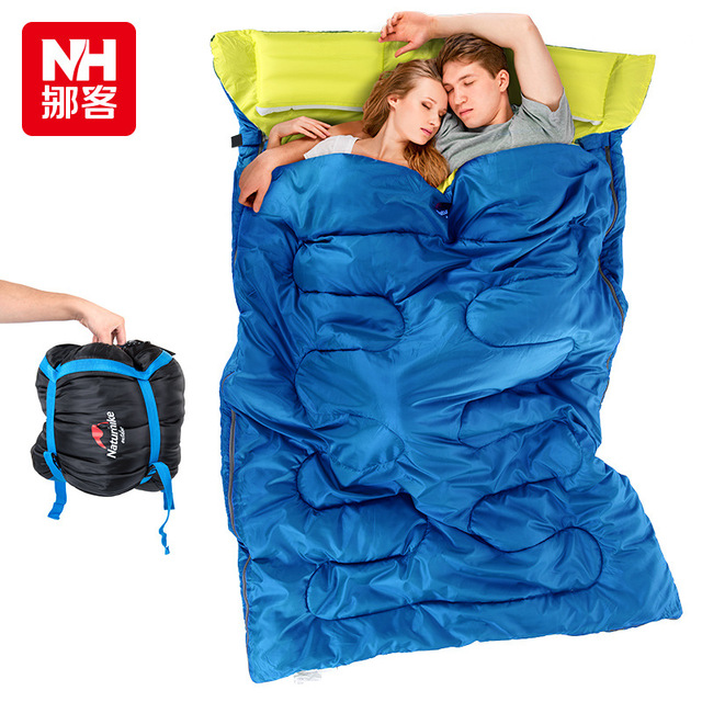 Naturehike couple double sleeping bag with pillows outdoor camping indoor lunch break portable Adult lover warm sleeping bag new brand envelop outdoor couple lover family camping sleeping bag adult three season indoor lunch break sleeping bag 2 1kg