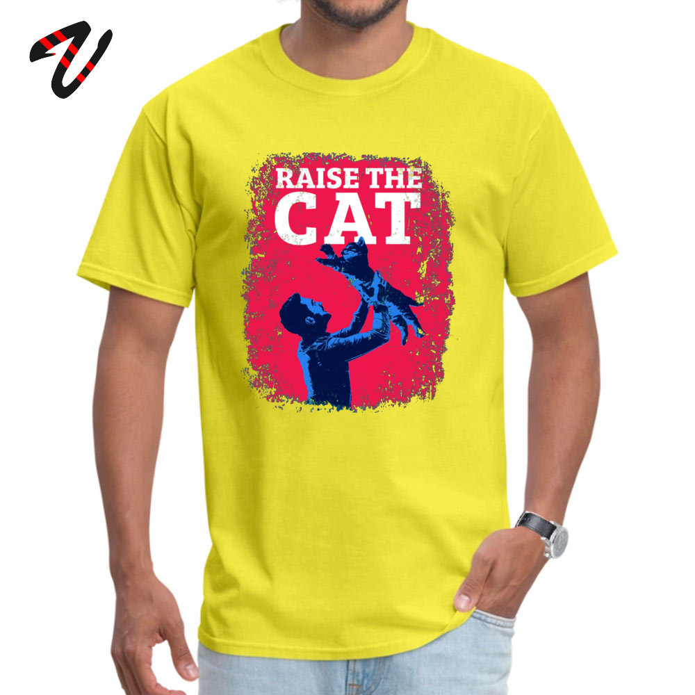 Raise The Cat T Shirt Brand New Short Sleeve Unique Pure Cotton Round Collar Men Tops & Tees Funny Tee Shirt ostern Day Raise The Cat -19278 yellow