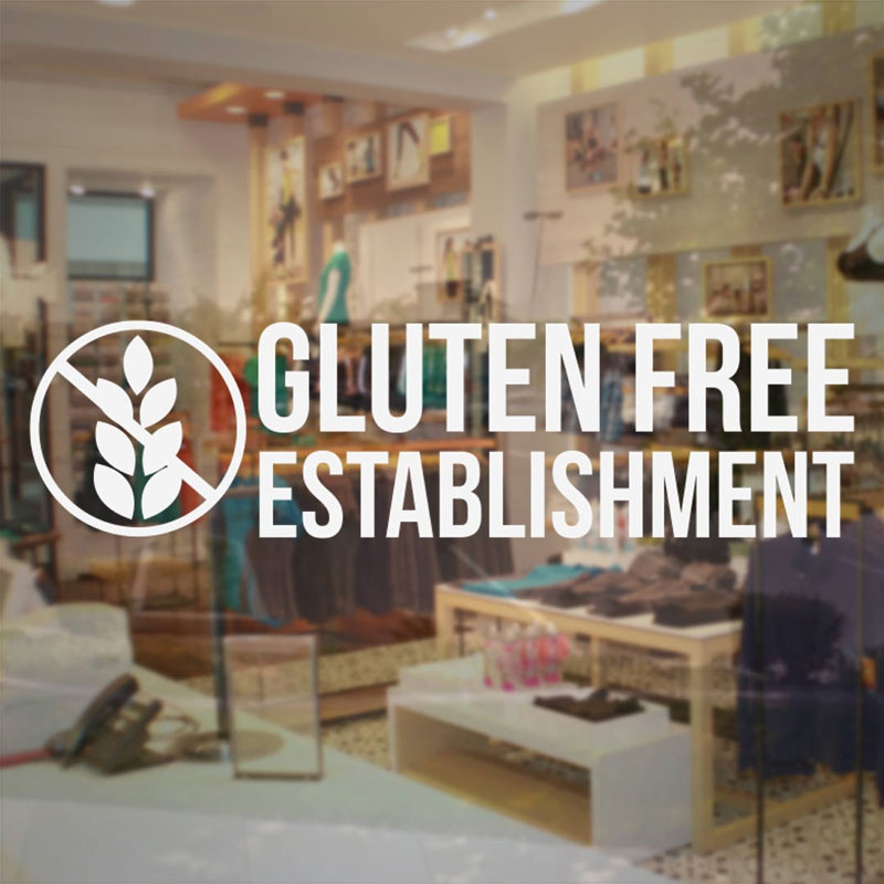 Gluten Free Establishment Sign - Store Business Vinyl Sticker For Food Dessert Bakery Shop Window Glass Decal Waterproof BS07 image