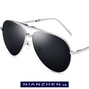 Image 1 - Pure Titanium Sunglasses Men Folding Aviation Polarized Sunglass 2019 Hot Brand Designer Aviador Sun Glasses for Men Shades 1190