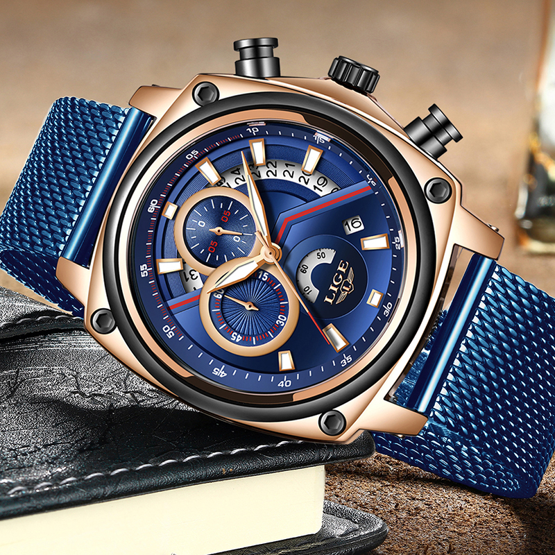 LIGE New Mens Watches Top Brand Casual Mesh Belt Blue Clock Male Sport Watch For Men Military Waterproof Quartz Wristwatch+Box|Mechanical Watches| |  - title=