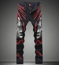 Мода Новый Человек Тигр Печати Джинсы Мода Slim Покрытием Брюки