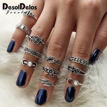 Women's Fashion Rings 11pcs/Set Women Bohemian Vintage Silver Stack Rings Above Knuckle Blue Rings Set dropshipping