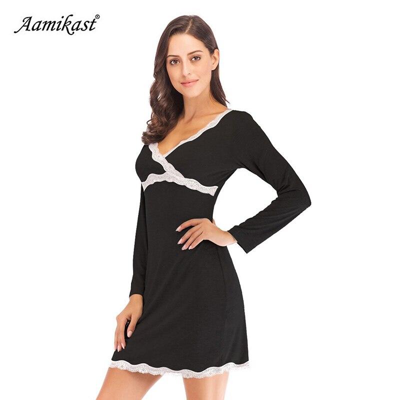 Aamikast Women V Neck Maternity Nursing Sleepwear Nightdress Lace