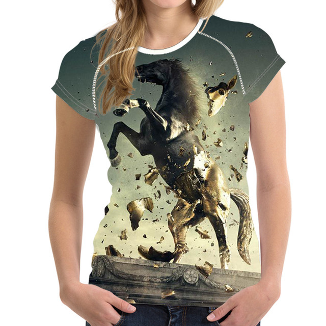 b76e23296e2e0 FORUDESIGNS genial caballo mujeres T camisa mujer verano Tops transpirable  Mujer Camisas para niñas de manga