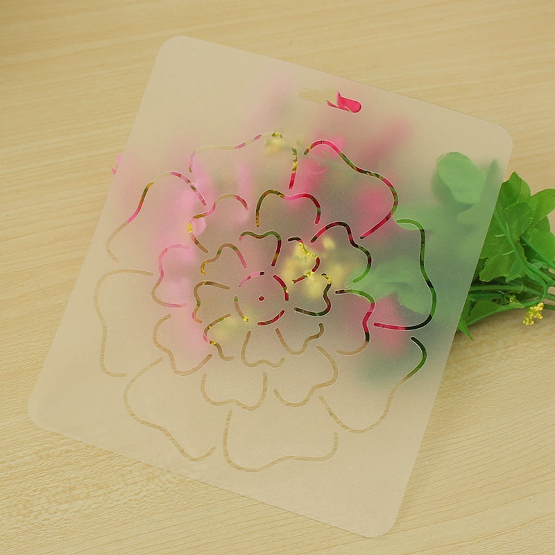 1pcs semi transparent flower pattern stencil plastic quilting template quilt tool for patchwork painting diy sewing craft tools