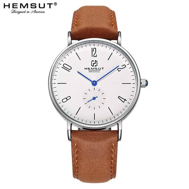 Herenhorloge Hemsut ultradunne Mannen Horloge Bruin Lederen Quartz Horloge 3ATM Waterbestendig Zwart relogio masculino 2018