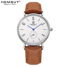 Mens Watch Hemsut Ultra thin Men Watch Brown Genuine Leather Quartz Watch 3ATM Water Resistant Black relogio masculino 2018
