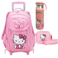 Free Shipping Hello Kitty Children School Bags Mochilas Kids Backpacks With Wheel Trolley Luggage For Girls backpack wholesale