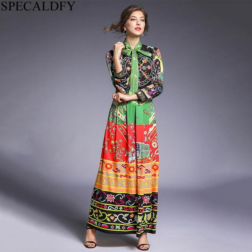 Spring Maxi Dresses For Women Bow Neck Boho Bohemian Elegant Vintage Long Shirt Dress Designer Runway Dresses Casual Robe Femme
