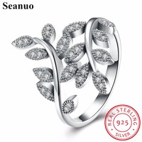 Seanuo Elegant 100 925 Sterling Silver Crystal Leaf Party Rings Fashion European Style Original Female Engagement