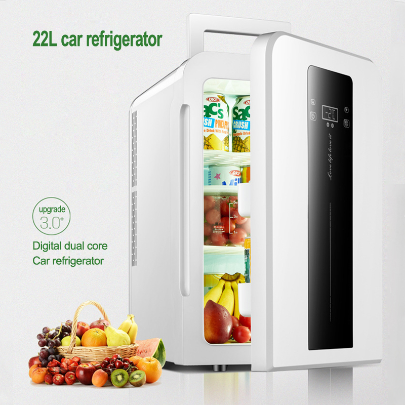 DC12v AC220V 22L CNC Dual-core Car / Home Refrigerator Mini Refrigerator With Single Door Student Dormitory Small Fridge 1PC