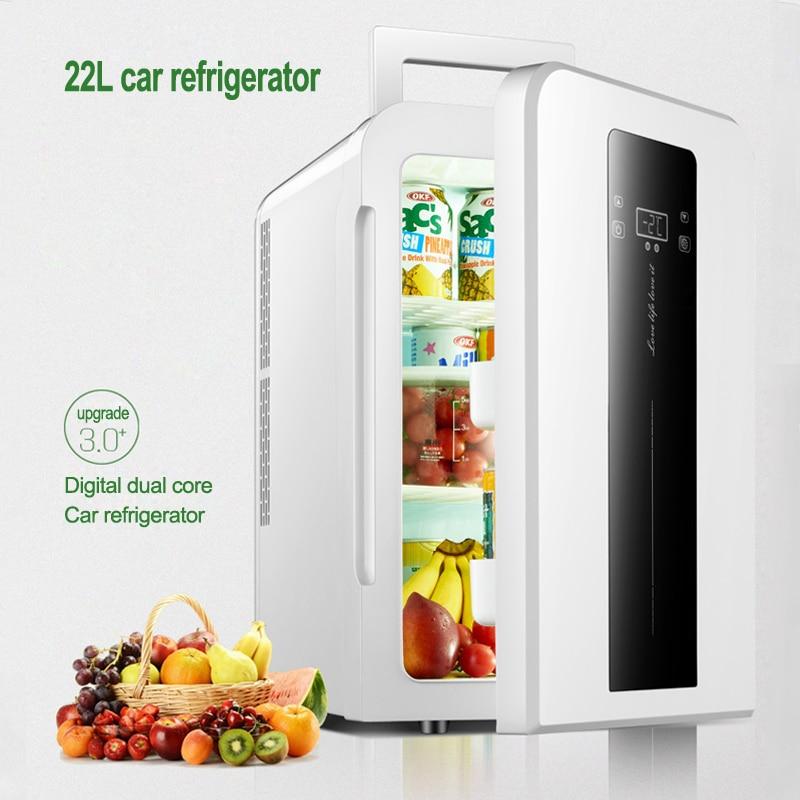 DC12v AC220V 22L CNC Dual-core Car / Home Refrigerator Mini Refrigerator With Single Door Student Dormitory Small Fridge 1PC