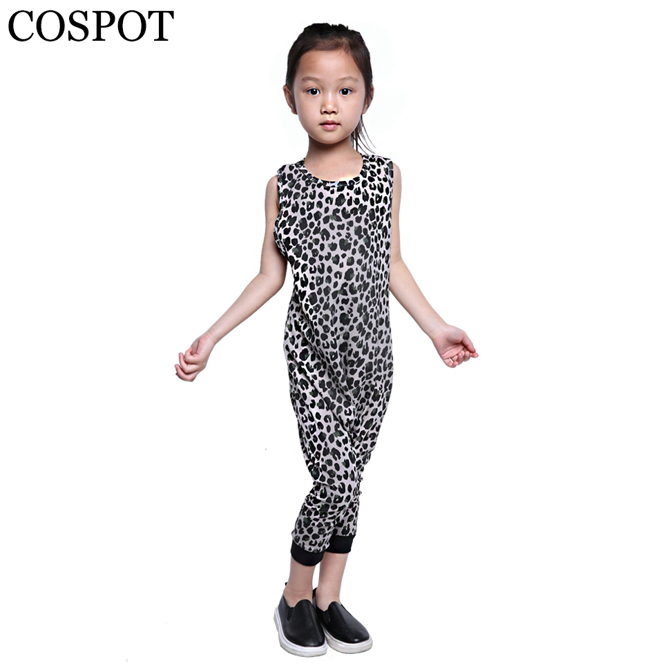 COSPOT Baby Girls Boys Harem Rompers Kids Summer Leopard Jumpsuits Boy Girl Cute Sleeveless Jumper 2018 New Fashion Arrival F31