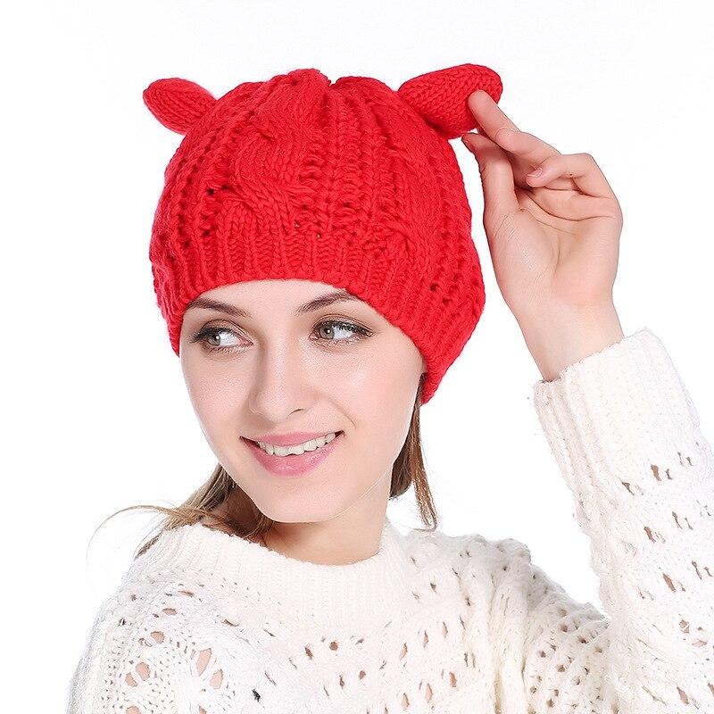 NEW Cute Women Cat Ear Beanie Hat 9 Colors Woolen Crochet Knitted Skullies Cap Autumn Winter Girls Warm Twist Berets Hats Gorro