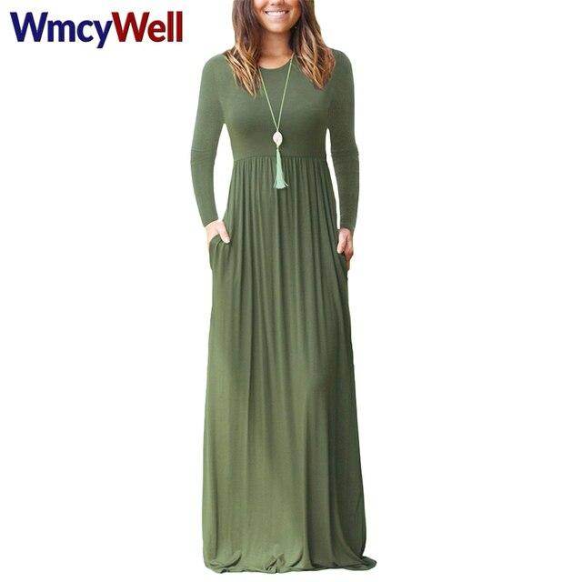 ec966435a3e1 WmcyWell 2017 Fashion Women Long Sleeve Solid Loose Plain Maxi Dresses  Casual Long Dresses With Pockets Robe Vestidos