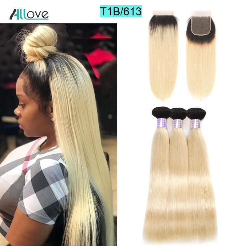 Allove светлые прямые волосы пучки с закрытием 613 пучки волос с закрытием Remy бразильские человеческие волосы плетение с закрытием