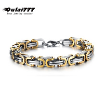 2019 wholesale stainless steel men charm Byzantium bracelet on hand link chain male accessories mens bracelets hip hop цена