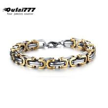 2019 wholesale stainless steel men charm Byzantium bracelet on hand link chain male accessories mens bracelets hip hop