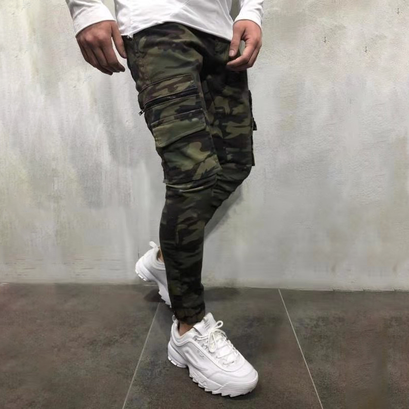 Casual Jeans Pants Patchwork Streetwear Slim Green Army Men's Camouflage New