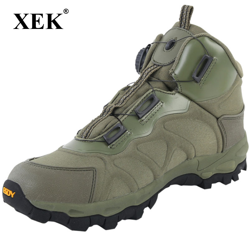 XEK Men Tactical Military Boots Winter Leather Lace Up Combat Army Ankle Boots Mens Flat Safety