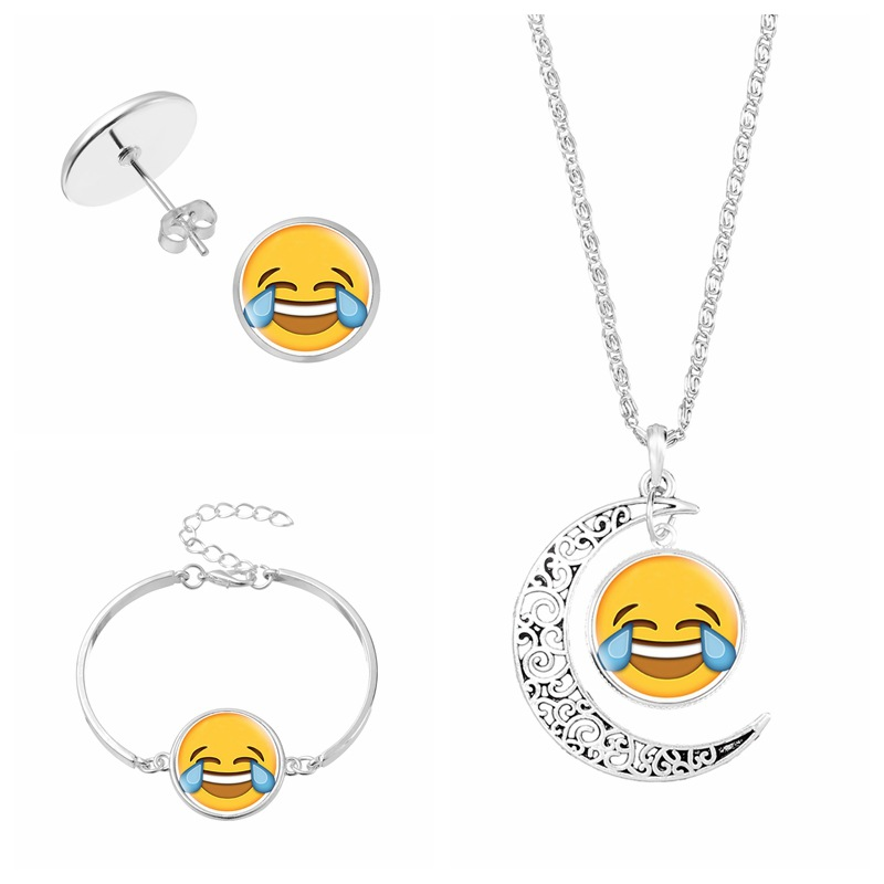 HouBian Classic qq Expression Necklace Set Handmade Glass Dome Necklace Girl Favorite Cute Necklace