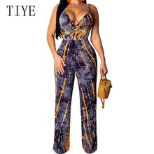 TIYE Women Fashion Spaghetti Strap Sexy Jumpsuits Print Sleeveless Bodysuit Hollow Out V Neck Casual Romper Vintage Playsuit sweet spaghetti strap sleeveless floral print hollow out swimwear for women