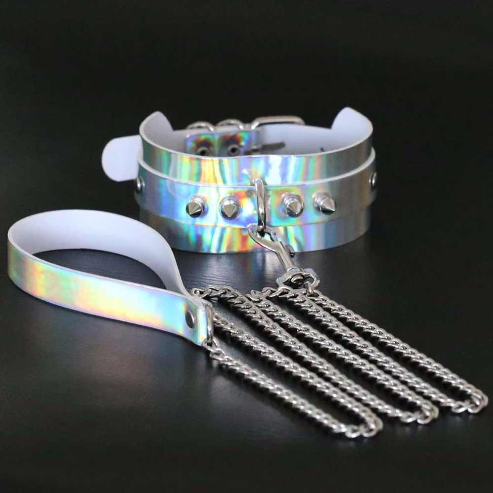 ... New Design Metal Rivet Slave Holographic BDSM Laser Choker Necklace  Woman Men Exaggerated Collars Jewelry Gift ...