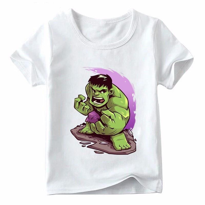 Boys/girls Hulk Cartoon Print Funny T-shirt Children Summer Short Sleeve Tops Kids Marvel Avengers Casual Baby T Shirt,ooo5278